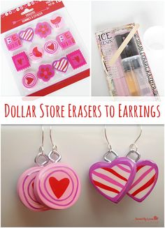 Make Adorable Valentine's Day Earrings Dollar Store Craft @savedbyloves
