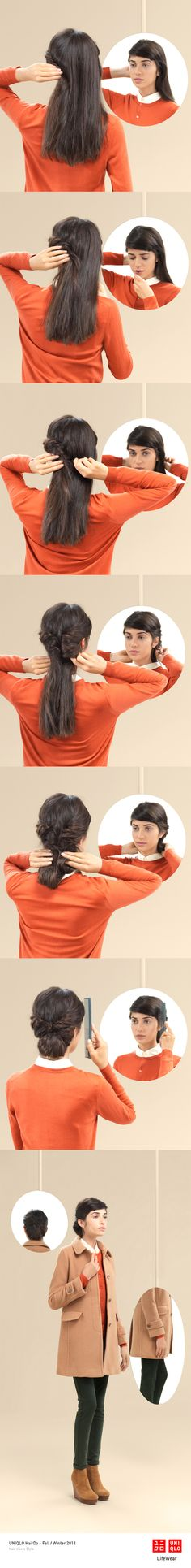"""""""THE ROUNDING"""" : Sophisticated yet simple, this style is perfect with our cashmere sweater. Click the image for DIY instructions! #UpDo #Hair #Hairstyle #DIY #UNIQLO #HairDo"""