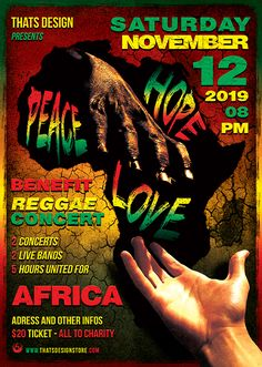 """Reggae Africa United Flyer Templatepromote a rasta concert, reggae tribute. Such as a Concert, Reggaefestival, or weekly event in a music club and other kind of special evenings.  File Types:PSD + Help File Requirements: Adobe CS3 Dimensions:A4 / Size21×29,7 cm Resolution: 300 DPI Color Mode: CMYK / Print ready Organized Layered: Yes. Color Coded Smart Objects: Yes. """"Peace, Hope , Love"""" replacement editable through smart object File Size:71.2 MB License: RegularLice..."""