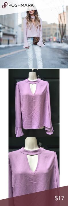✨ Awesome Lavender Bell Sleeve Key Hole Blouse - Awesome Lavender Bell Sleeve Key Hole Blouse - Perfect Summer to Fall blouse! Lightweight and can easily be dressed up or down!  - Main color = light purple/ pink, best described as lavender, color in mannequin pics is accurate - Key hole v-neck front and key hole back with two buttons - Sleeves slightly puffed and 3/4 bell sleeve - In great condition, purchased and never worn  - Brand: Boutique/ About a girl - Size: L (runs a tad small would…