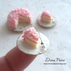 Pink Coconut Cake Dollhouse Miniature Food by dpaone on Etsy