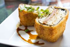 crispy panko coated fried spam musubi roll.
