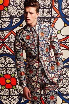 African inspired wax block print fabric suit stained glass camouflage