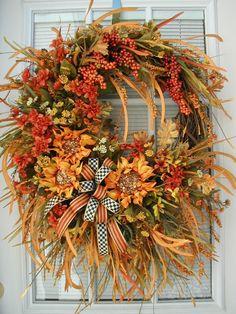 Fall Autumn Wreath Front Door Decor Thanksgiving by PetalsNPicks