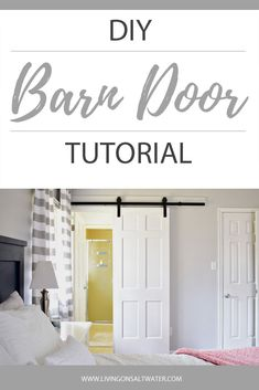 Do you love barn doors!?  They are a great way to make more space in an already small room.  This tutorial shows how to re-purpose a traditional door by adding a few modifications and turn it into a beautiful barn door!  This barn door allowed me to get a little more room in my tiny bathroom!