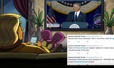 Cartoon Donald Trump Live Tweeted Barack Obama's Farewell Speech