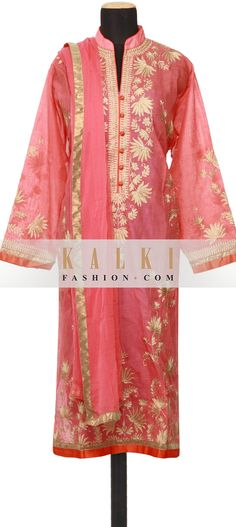 Buy Online from the link below. We ship worldwide (Free Shipping over US$100)  http://www.kalkifashion.com/featuring-a-peach-georgette-straight-cut-semi-stitched-salwar-kameez-embellished-in-resham-embroidery-only-on-kalki.html
