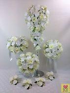 ARTIFICIAL SILK FLOWER CREAM ORCHID/ROSE FLOWERS TEARDROP WEDDING BOUQUET SET
