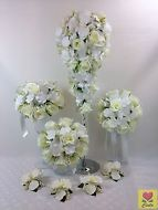 ARTIFICIAL SILK FLOWER CREAM ORCHID/ROSE FLOWERS TEARDROP WEDDING BOUQUET SET