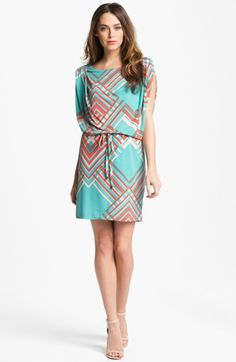 summer wedding guest dress??  Jessica Simpson Print Blouson Jersey Dress available at #Nordstrom