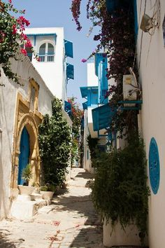 Beautiful Sidi Bou Said, located near Tunis - Tunisia. Must stop at Cafe de Delices! Places Around The World, Oh The Places You'll Go, Cool Places To Visit, Places To Travel, Around The Worlds, Tourist Places, Sidi Bou Said, Wonderful Places, Beautiful Places
