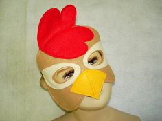 Children's Brown CHICKEN Farm Animal Felt Mask by magicalattic