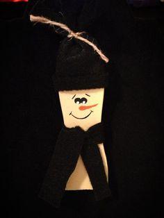 Primitive Country Paint Stick Snowman Ornament by PrimOuthouse, $4.00