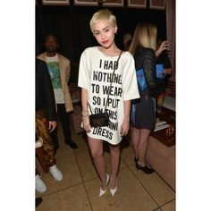 About Last Night Miley Cyrus Wore Moschino to the Daily Front Row... ❤ liked on Polyvore