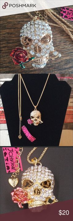 💝 Lee Crystal Skull Pendant💝 Beautiful and fun necklace designed by Betsy Johnson.  Brand new with tags and sparkles it's way to your heart.  28 inch expandable gold chain. LMK if u have any questions.  Thx 4 stopping by! 😋❤️😄 Betsey Johnson Jewelry Necklaces