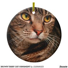 BROWN TABBY CAT ORNAMENT ROUND CERAMIC ORNAMENT