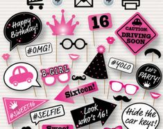 Party Photo Booth Printable Props Birthday Party by SurpriseINC