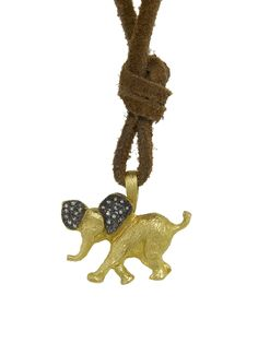 Cathy Waterman Jewelry - Elephant Charm    Handcrafted in 22-karat yellow gold.  Detailed in diamonds.  Diamonds total 0.06 carats.  Charm measures 1 1/16-in. across.  Finished with a 26 1/2-in. long leather necklace.