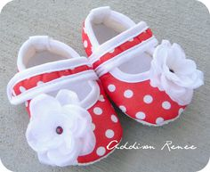 Red and white polka dot baby booties shoes in your by AddisonRenee, $10.50