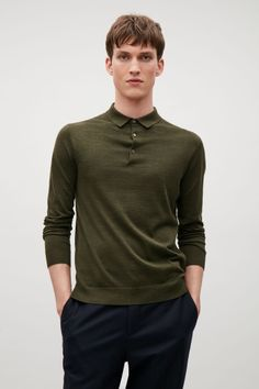COS image 1 of Silk-cotton polo-neck jumper in Olive Green