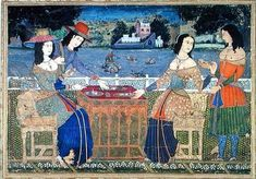 Portuguese women eating a meal in Goa 16th Century