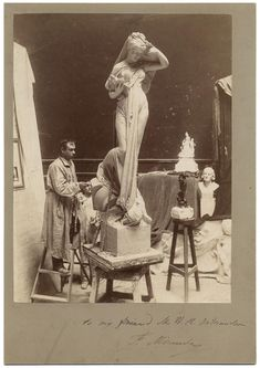 Sculptor Fernando Miranda in his studio (ca. 1870) (via Smithsonian Institution)