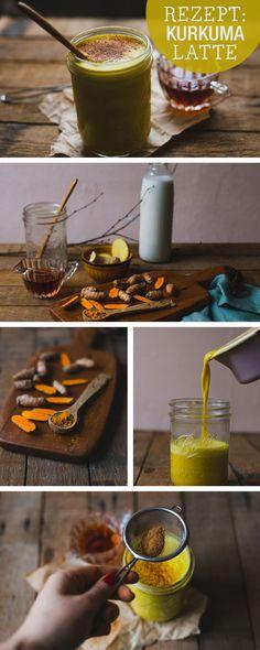 Alternative zum Kaffee: Leckere Kurkuma Latte >> Gesundes Rezept: Kurkuma Latte selbermachen, Superfood / healthy recipe: latte with curcuma, superfood, clean eating via DaWanda.com