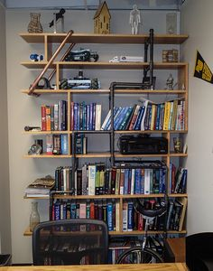 Office Bookshelf Made Of Poplar Boards And Black Pipe 5 Feet Wide By 8 Tall