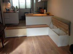 hoekbank keuken   twee afzonderlijke kleppen van eikenhoute vloer delen