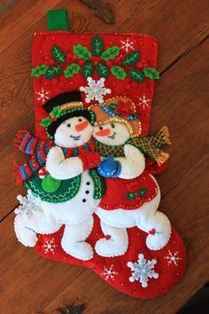 Heirloom Bucilla Holiday Stocking Snowflake by StitchesByElizabeth Cute Christmas Stockings, Christmas Stocking Pattern, Felt Stocking, Stocking Tree, Felt Christmas Ornaments, Christmas Snowman, Handmade Christmas, Christmas Crafts, Santa Decorations