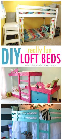 DIY Bunk Beds - tutorials and plans via Reason Enough to Skip the Housework #diyloftbeds