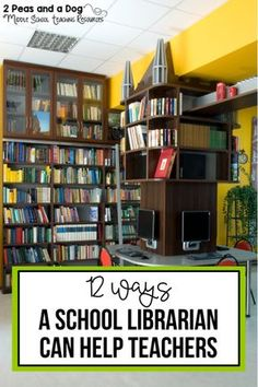 12 Ways a School Librarian Can Help Teachers School librarians are an essential part of a thriving school community. Read about how school librarians can support teachers from 2 Peas and a Dog. School Library Lessons, School Library Design, Library Lesson Plans, Middle School Libraries, Elementary School Library, Library Skills, Library Ideas, Library Inspiration, Public Libraries