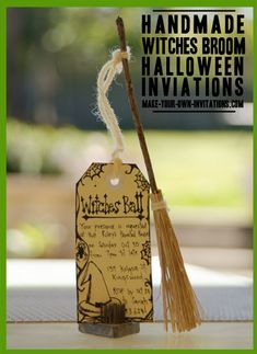 broomstick invitations - Perhaps add more sparkles and glitter to make more Little Charmers friendly.