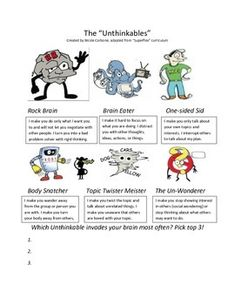 Intro to Unthinkables handout: A worksheet that describes each Unthinkable chara. Social Skills Autism, Social Skills Lessons, Social Skills Activities, Social Emotional Development, Teaching Social Skills, Social Behavior, Counseling Activities, Social Emotional Learning, Therapy Activities