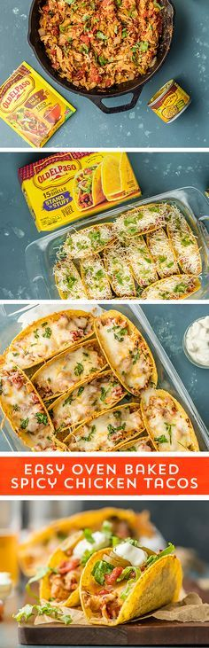 Taco Night has never been easier! These Oven Baked Spicy Chicken Tacos from /beckygallhardin/ are so easy and delicious, your family will beg for them! Spicy chicken, loaded with melted cheese, all baked into Old El Paso Stand N Stuff™ Taco Shells, this quick & easy prep meal is everything you crave! They take just 10 minutes prep and are ready to eat in 30 minutes - just perfect for those busy nights!