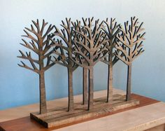 Forest Wood Sculpture Art Rustic Home Decor by elwoodworks on Etsy, $85.00