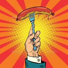 Sausage on a Fork, Street Food - Food Objects
