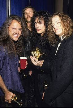 Lars Ulrich, James Hetfield, Kirk Hammett and Jason Newsted of Metallica, winners of Best Metal Performance at the 1993 Grammy Awards.