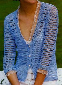 Saco al crochet con puntilla en el cuello y en los puños
