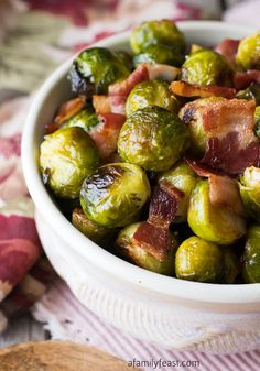 Oven Roasted Brussels Sprouts with Bacon - A Family Feast