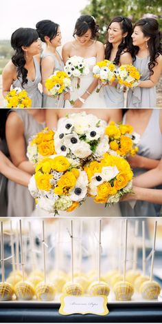 wedding color combination: grey and yellow