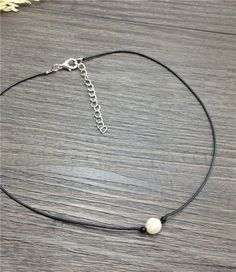 Black leather pearl necklace cultured freshwater pearl choker neckless womens jewellery for best friends floating pearl pendant