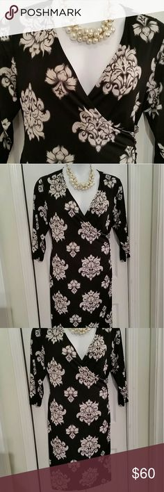 Gorgeous dress Regal black and white floral design on this mock wrap dress from Charter Club  Size 1X, fits like 14W 40 inches long  23 inches across armpit to armpit lying flat Wonderful stretch fabric 95% polyester 5% spandex  Drapes your body beautifully  Side ruching with black and gold decorative button details  Slip on over head Very slimming style Charter Club Dresses