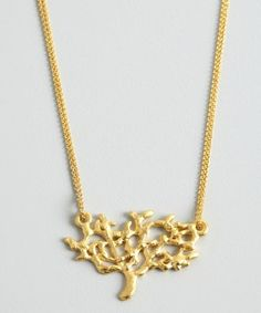 David Aubrey : gold double chain tree charm necklace : style # 323292801