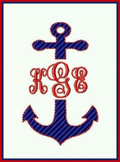 Embroidery idea Embroidery Monogram, Embroidery Applique, Embroidery Ideas, Boat Theme, Sewing Machine Embroidery, Monogram Design, General Crafts, Fun At Work, New Hobbies
