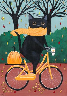 """""""Black Cat Autumn Bicycle Ride"""" -Painted with Golden acrylics. -Approx. 10"""" x 7 1/4"""" x 1"""" Piece of pine -Topped with two coats of gloss varnish. -Signed, titled, and dated on the back by me! This kitty was ready for autumn! With his scarf, coffee, and pumpkin, he thought it was the purrfect day for an autumn bicycle ride! -------------------------------------------------------- The sides of the painting are painted black and a sawtooth hanger has been attach..."""