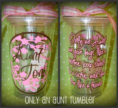 Only an Aunt poem 16oz Personalized Acrylic by lyricalletters, $15.00