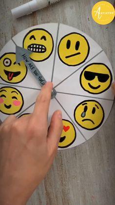 Diy Resin Crafts, Paper Crafts Origami, Diy Crafts Hacks, Paper Crafts For Kids, Diy For Kids, Emoji Craft, Paper Clock, Emoji Painting, Rock Painting