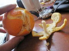 Horny orange peel man Opgewonden sinaasappel schilletje