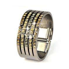 shiny rhinestones bangle jewelry metal cuff dia. 2.48inch weight 87gram